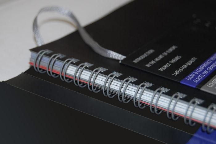 Buch mit verdeckter Wire-O Bindung und 6-seitigem Umschlag