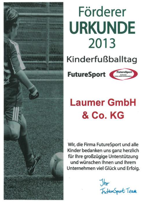 Förderer Urkunde - Future Sport 2013