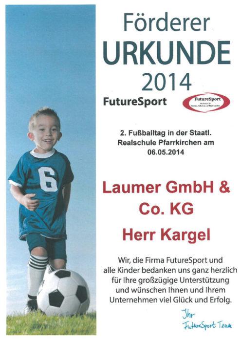 Förderer Urkunde - Future Sport 2014