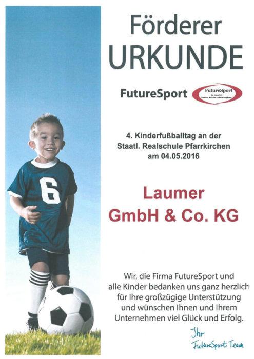 Förderer Urkunde - Future Sport 2016