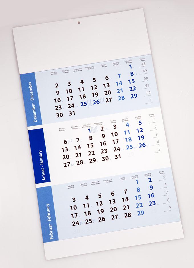 3-Monatskalender mit Lasche geschlossen
